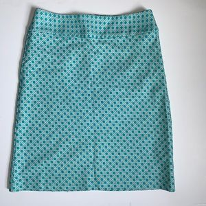 Talbots turquoise printed skirt NWOT